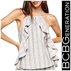💕NWT-BCBGeneration Ruffled Striped Halter Top